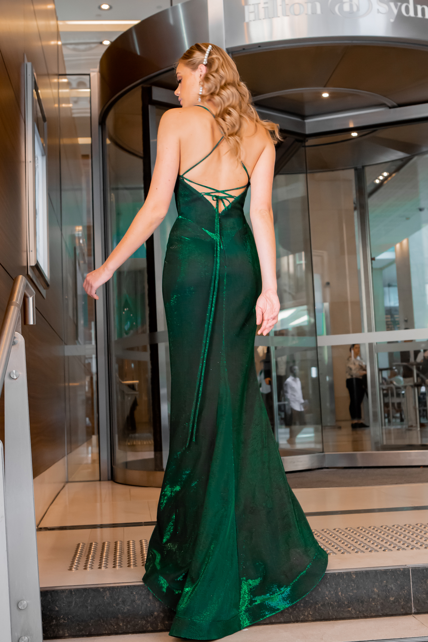 maxi-length dress green
